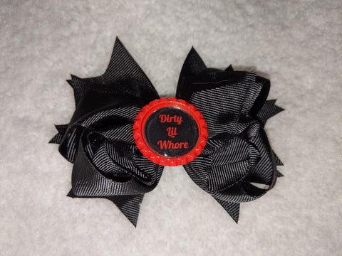 Dirty Lil Whore Bottle Cap Boutique Hair Bow