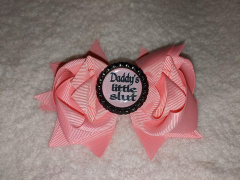 Daddy's Little Slut Bottle Cap Boutique Hair Bow