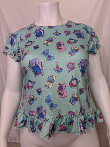 DISCONTINUED MEGA KITTY ARCADE GAMER BABY DOLL SHIRT Clearance