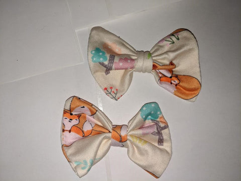Sleepy Fox Matching Boutique Fabric Hair Bow 2pc Set Clearance