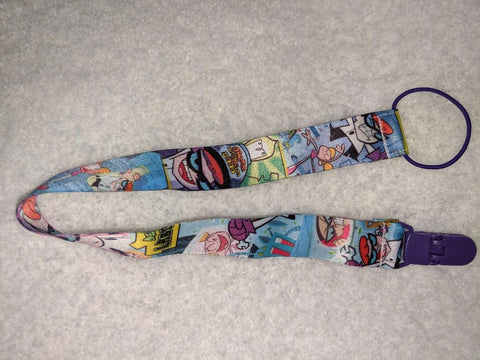 "Cartoon 90's Dex lab Cartoon Double Sided Fabric Pacifier Clips - 17"" #M"