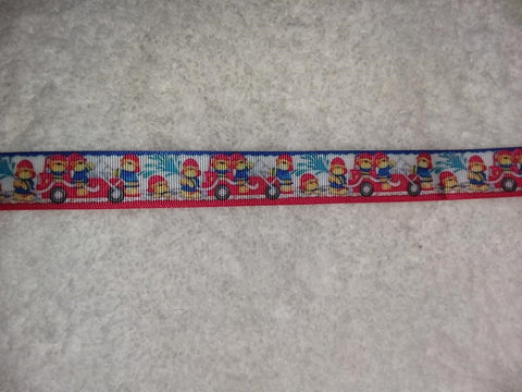 "Bear Fire Truck Hand Crafted Pacifier Dummy Clip - 10""-12"""