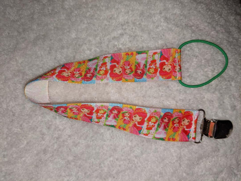 "Strawberry Shortcake HAND CRAFTED PACIFIER DUMMY Single Sided CLIP - 10""-12"""