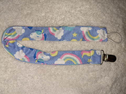 RAINBOWS & UNICORNS Matching Fabric Pacifier Clips Clearance