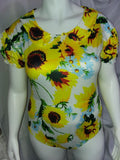 DISCONTINUED Lil Sunflower Short Sleeve Romper Onesie Bodysuit Waist has elastic Clearance