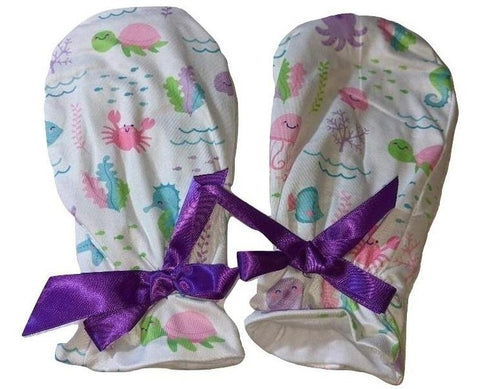 Under The Sea Matching Mittens with purple Ribbon