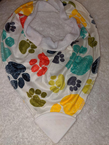 Bandana Teething Drool Bib Paw Prints