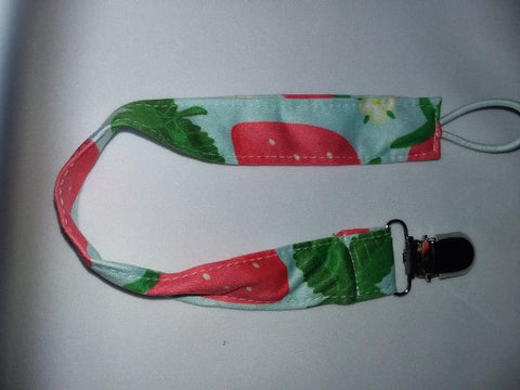 STRAWBERRY SUMMER Matching Fabric Pacifier Clips Clearance