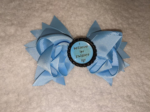 I Believe in Fairies Bottle Cap Boutique Hair Bow