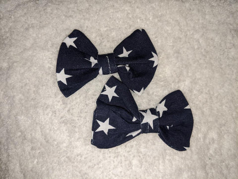 TWINKLE LITTLE STAR Matching Boutique Fabric Hair Bow 2pc Set