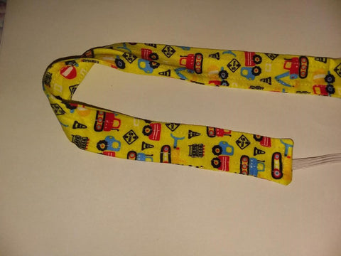 "DISCONTINUED Lil Construction Vehicles Matching Fabric Pacifier Clips - 17"" Clearance"