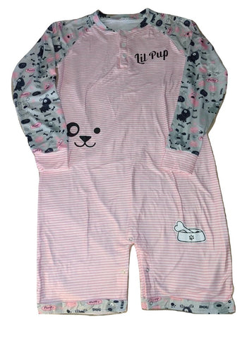 Long Sleeve Lil Pup Pink Romper Onesie * SIZES RUN LARGE, CHECK MEASUREMENTS