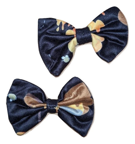 Hunny Bunny Black MATCHING BOUTIQUE FABRIC HAIR BOW 2PC SET Designed by cyan.red