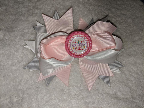 Birthday Girl Bottle Cap Boutique Hair Bow