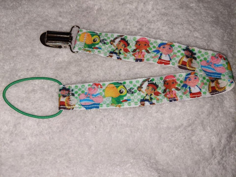 "Jake The Pirate  HAND CRAFTED PACIFIER DUMMY CLIP - 10""-12"""