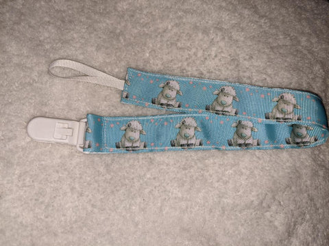 "Lamb HAND CRAFTED PACIFIER DUMMY CLIP - 10""-12"""