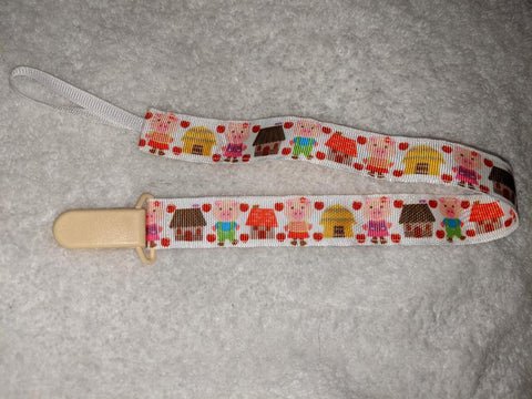 "Little Piggy HAND CRAFTED PACIFIER DUMMY CLIP - 10""-12"""
