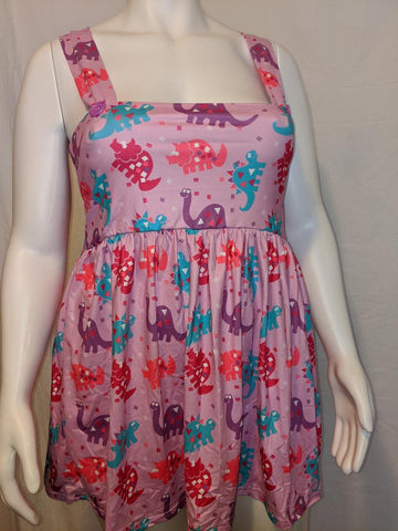 DISCONTINUED Suspender Purple Dinosaurs Jumper Skirt Dress Clearance
