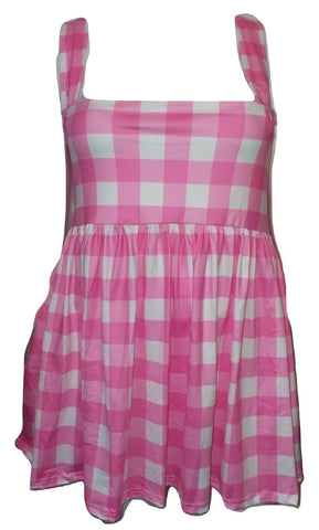 DISCONTINUED Suspender Pink & White Jumper Skirt Dress Clearance