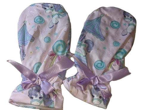 Carousel Ponies Matching Mittens with purple Ribbon