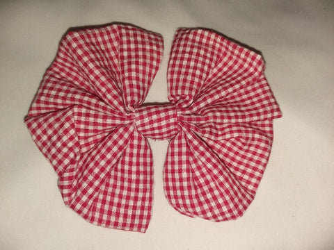 SEERSUCKER RED & WHITE Boutique Fabric Hair Bow