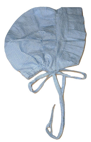 Seersucker Adult Baby Bonnets Blue/White
