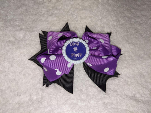 Dirty Lil Piggy Bottle Cap Boutique Hair Bow