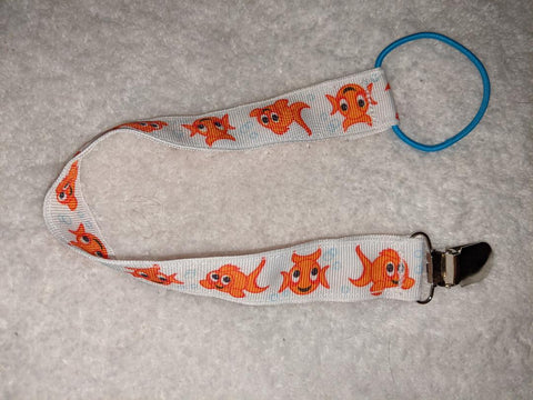 "Fish HAND CRAFTED PACIFIER DUMMY CLIP - 10""-12"""