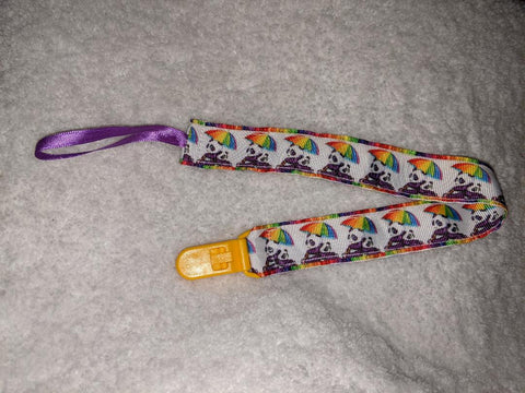 "Rainbow Panda Bear HAND CRAFTED PACIFIER DUMMY CLIP - 10""-12"""