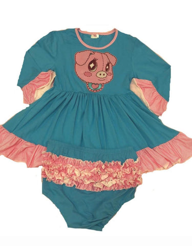 Lil Critters Piggy 2pc Dress & Matching Bloomers Set Designed by KEROKEROKOUHAI