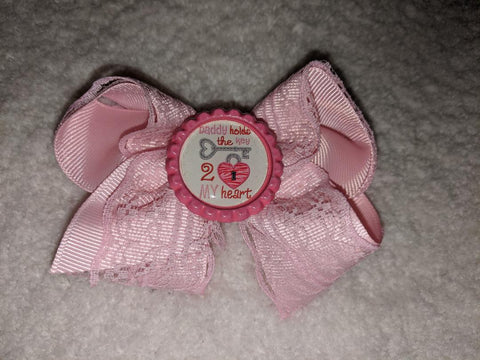 Daddy holds the key to my heart Bottle Cap Boutique Hair Bow