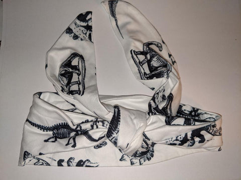 BLACK & WHITE DINOSAURS MATCHING Boutique Fabric Hairband Headband