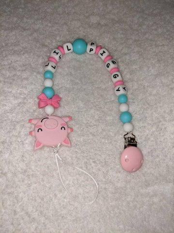 Lil Piggy SILICONE TEETHER CHEWING PACIFIER CLIP XLarge