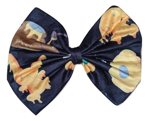 Hunny Bunny Black Matching Boutique Fabric Hair Bow Designed by cyan.red