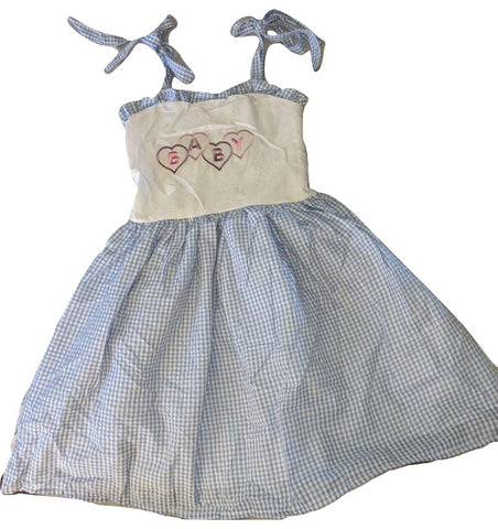 Baby Embroidered Blue/White Smock Halter Summer Dress Plus Size* PLEASE LOOK AT MEASUREMENTS