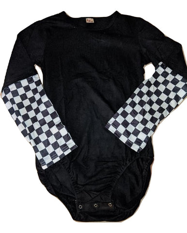 Long Sleeve Black & White Checker Onesie