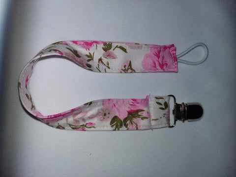 FLORAL Matching Fabric Pacifier Clips Clearance