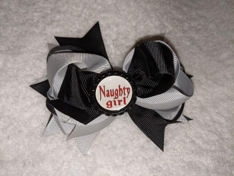 Naughty girl Bottle Cap Boutique Hair Bow