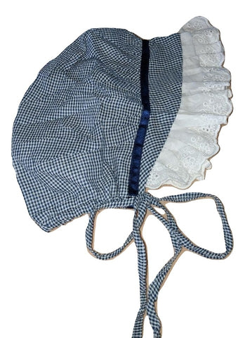 Seersucker Adult Baby Bonnets Dark Blue/White