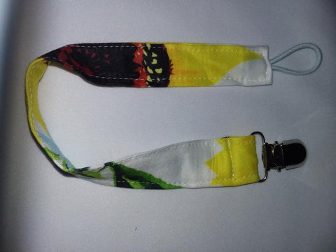 LIL SUNFLOWER Matching Fabric Pacifier Clips Clearance
