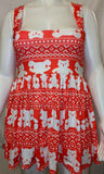 SUSPENDER DISCONTINUED Red & White Bear Jumper Skirt Dress Clearance