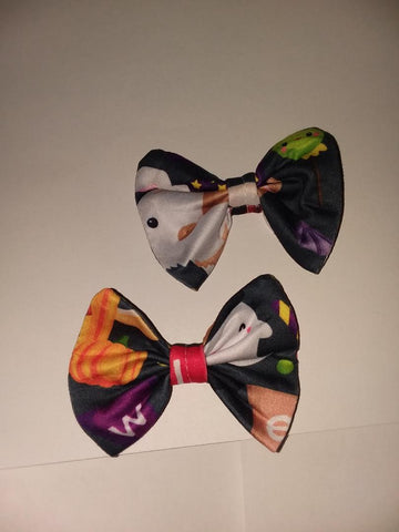 Spooky Pup Matching Boutique Fabric Hair Bow 2pc Set