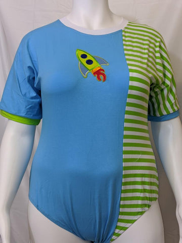 Short Sleeve Lil Rocket Ship Cotton Onesie