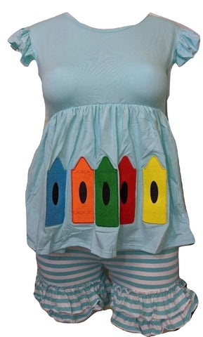 Let's Color with Crayons 2pc Dress & Matching Shorts Outfits xxs - xs- s - 4x
