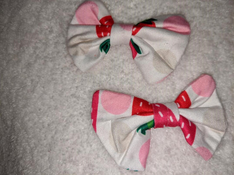 STRAWBERRY PATCH Matching Boutique Fabric Hair Bow 2pc Set