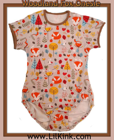 Onesie DISCONTINUED Short Sleeve Woodland Fox Onesie * New Size Chart 4x