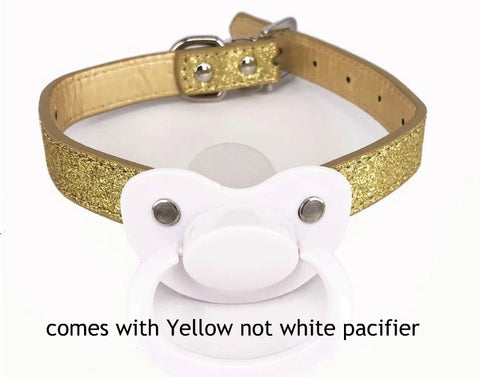 New ABDL Adult Pacifier Gag Yellow & Gold