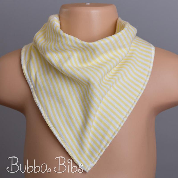 Narrow Yellow & White Stripe Bandana Bib - bubbabibs