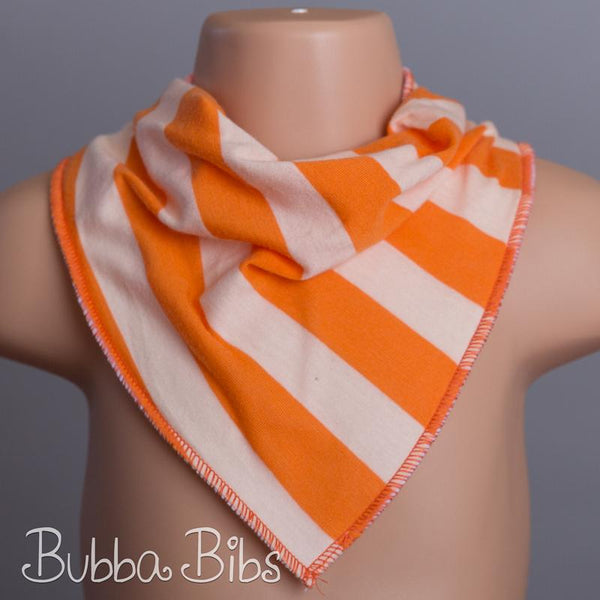 Orange Duo Stripe Bandana Bib