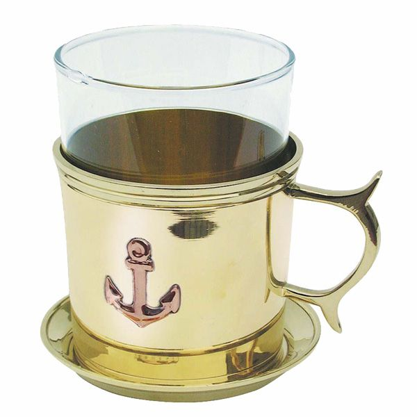 Glass with hot toddy with under cup brass Sea club